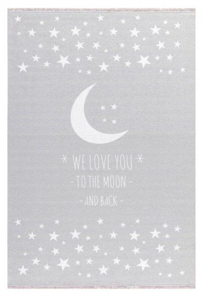 Kinderteppich Mond & Sterne Waschbar Grau