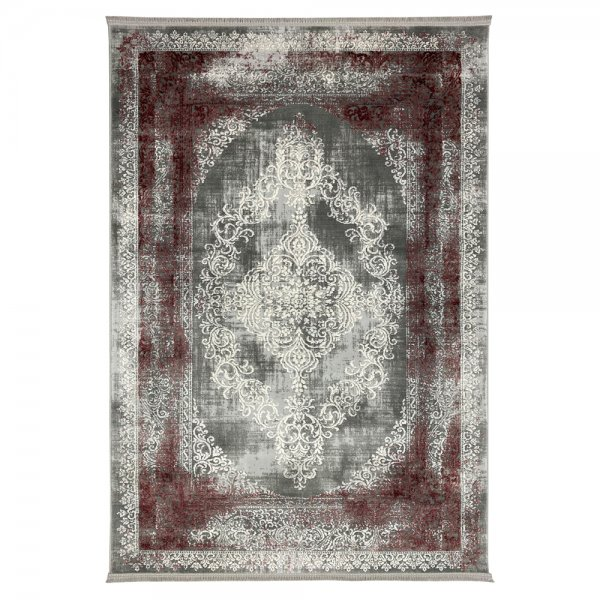 Schimmernd Orient Vintage Teppich Bordo Grau