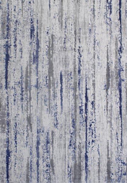 Hochwertig Enzian Designteppich Blau Grau