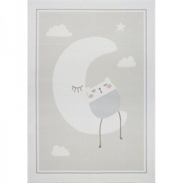 Kinderteppich LUCA Mond Grau Weiß