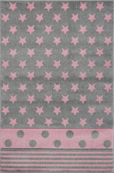 Kinderteppich EMILY Sterne Streifen Punkte Pink Grau