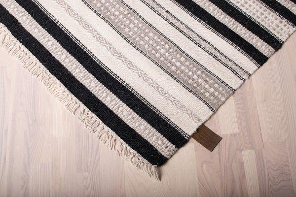 Wollteppich ISLAND Handgewebt Streifen Weiß Schwarz