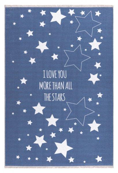 Sterne Kinderteppich NOAH Waschbar Blau Weiß