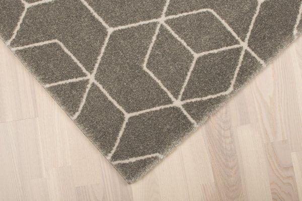 Teppich 60er Retro Muster Grau Kurzflor