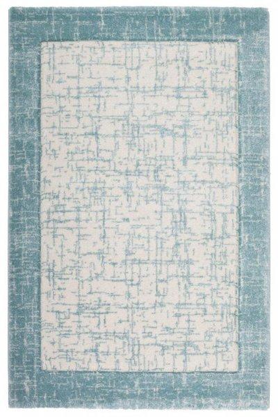 Designer Teppich Ozean-Blau Creme Weiß