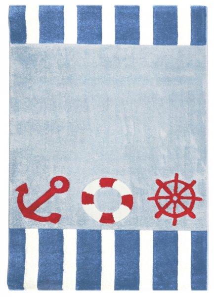 Kinderteppich FREIBEUTER Blau Weiß Rot