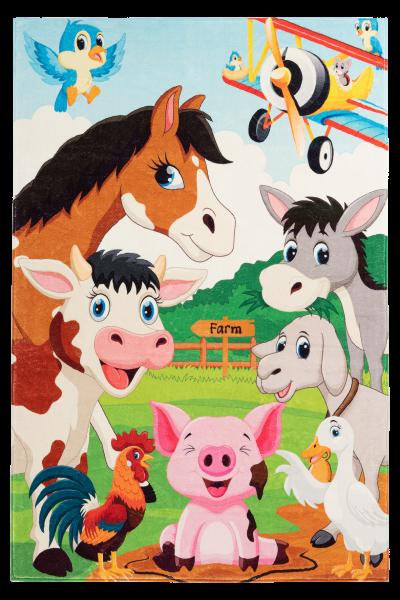 Kinderteppich farm rechteckig Kinderzimmerteppich multi Tiere