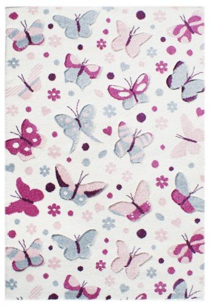 Kinderteppich Schmetterlinge Pink Blau Weiß