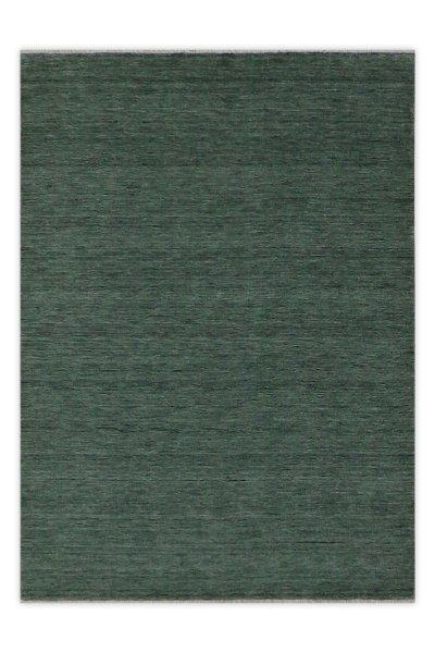 Hochflor Wollteppich RÜGEN Handgewebt Granit-Grün