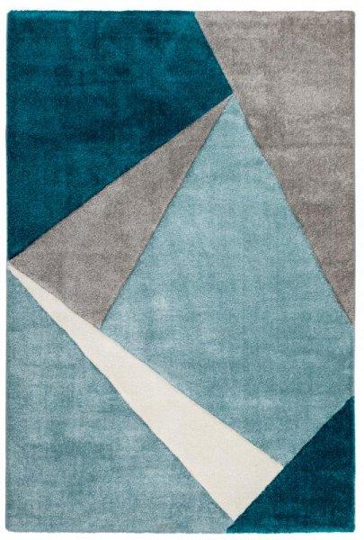 Hochflor Designer Teppich Petrol Blau Grau