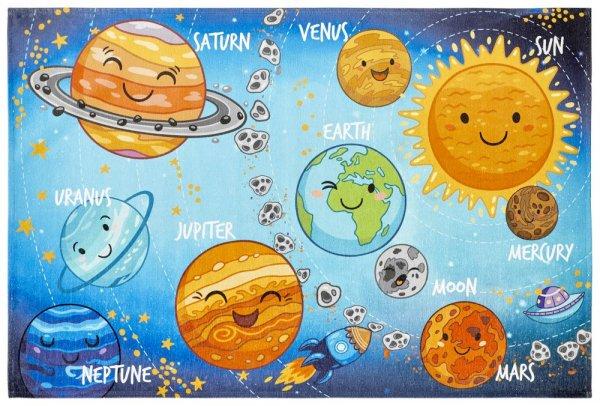 Kinderteppich solar system Weltkarte Teppich für Kinderzimmer Planeten