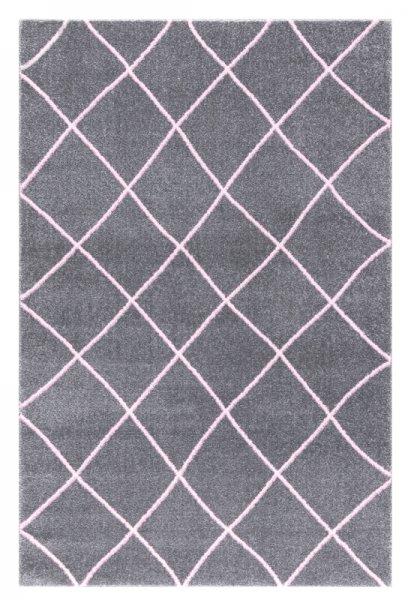 Teppich Karo Muster Grau Rosa