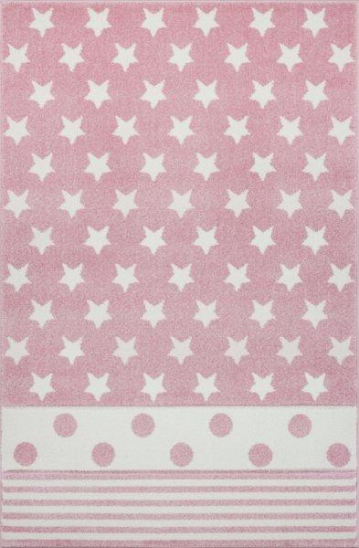 Kinderteppich EMILY Sterne Streifen Punkte Pink Weiß