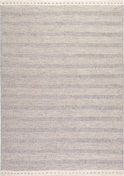 Wollteppich MARRAKESCH Handgewebt Streifen Silber Grau Weiß
