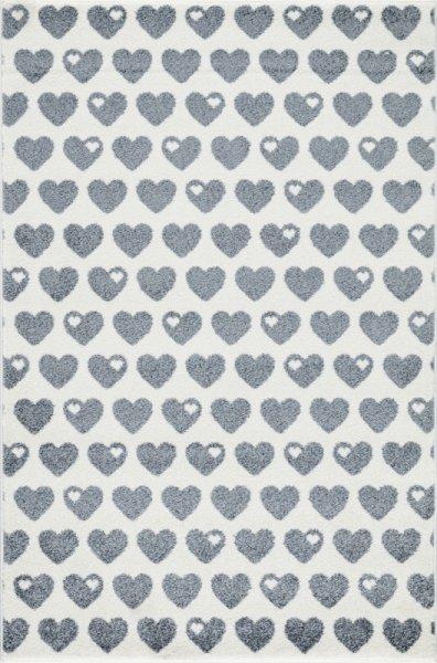 Kinderteppich Herzen Grau Weiß