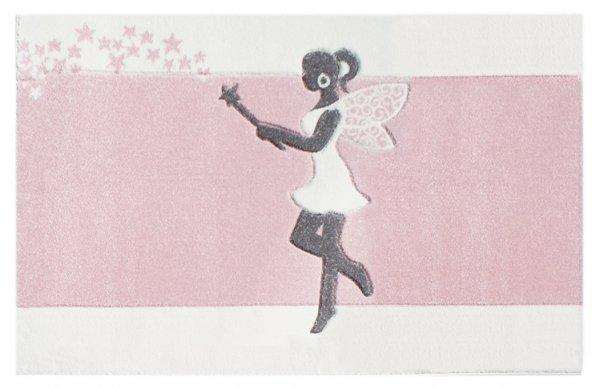 Kinderteppich Zauberfee Pastell Rosa Weiß Grau