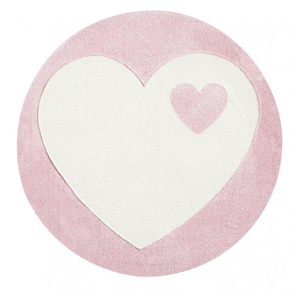 Runder Kinderteppich Herz Pink Weiß
