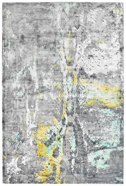 Designer Teppich ETERNITY Handgefertigt Mint Grau Sand