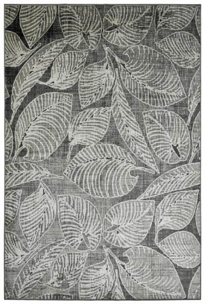 Flachgewebe Viskose Teppich Blattmotiv Grau Taupe