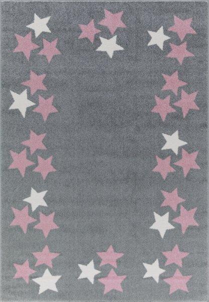 Sterne-Teppich MARIE Grau Rosa