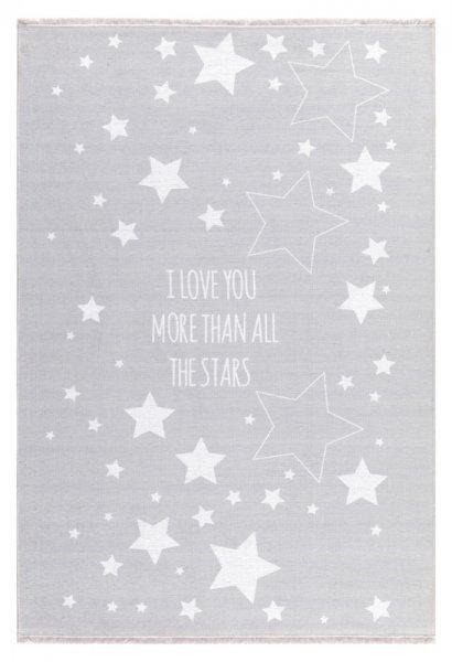 Sterne Kinderteppich NOAH Waschbar Grau Weiß