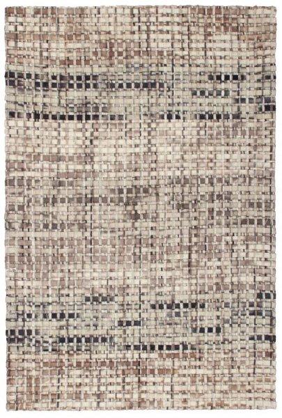 Wollfilz-Teppich Handgewebt Grau Beige