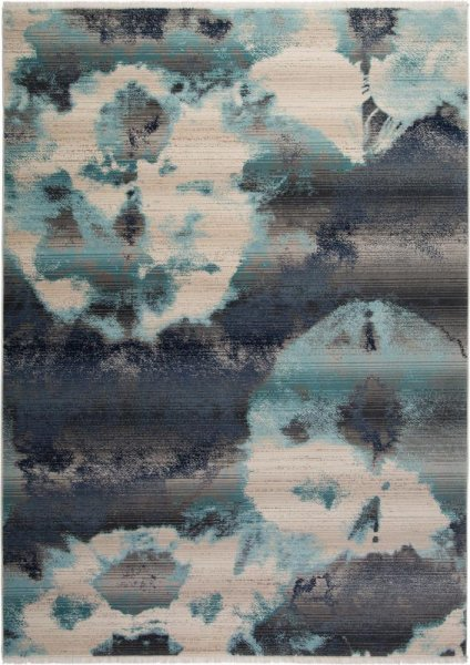 Designer Teppich Türkis Blau Grau Creme
