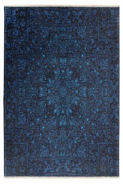 Design Teppich Anja hochwertig und modern Vintage Teppich blau