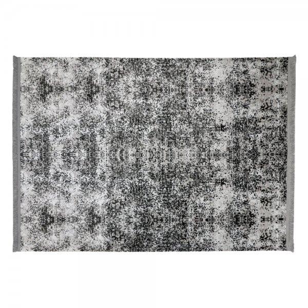 Moderner Teppich Lichteffekt Anthrazit Muster Fransen