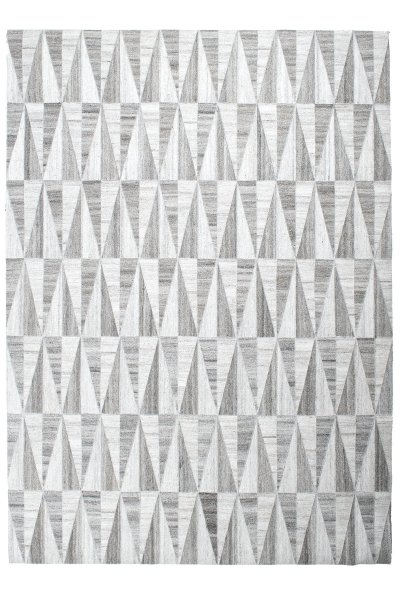 Teppich LASSE Handgewebt Viskose Wolle Grau Silber Weiß