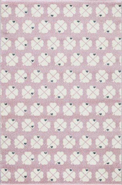 Kinderteppich Kleeblätter Pastell Rosa Weiß