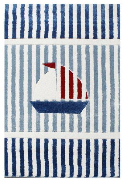 Kinderteppich Schiff & Streifen Blau Weiß