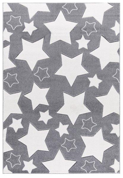 Sterne-Teppich EMILIA Grau Weiß