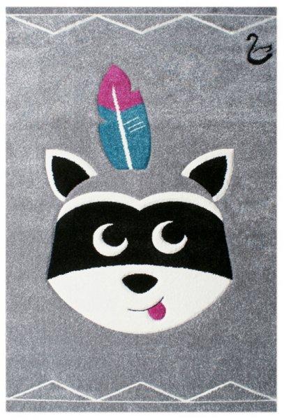 Kinderteppich Waschbär Grau Schwarz Weiß