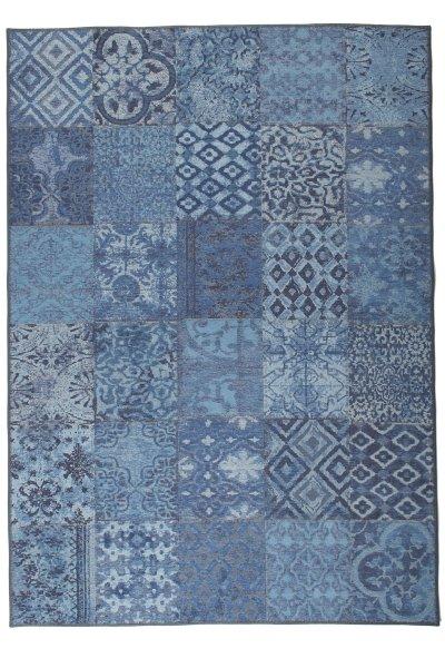 Flachgewebe Teppich Retro Patchwork Design Blau