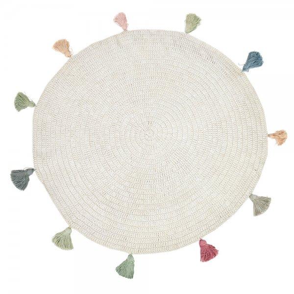 Handgewebter Teppich für Kinderzimmer Natur Rund