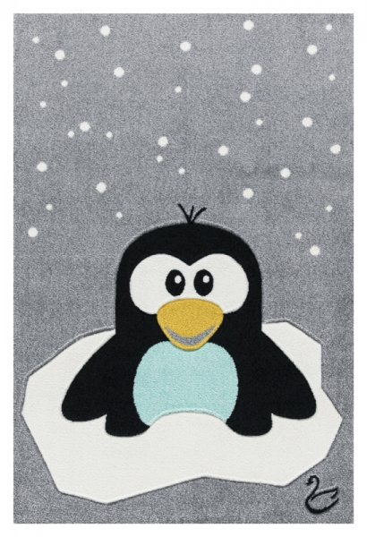 Kinderteppich Pinguin Grau Schwarz Weiß