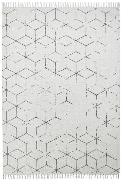 Baumwoll-Teppich Handgewebt Used Look Hellgrau