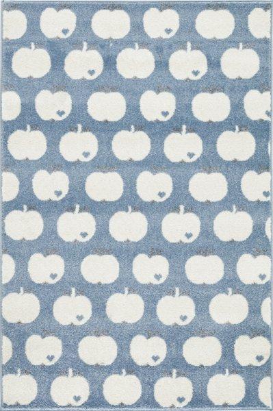Kinderteppich Äpfel Weiß Blau