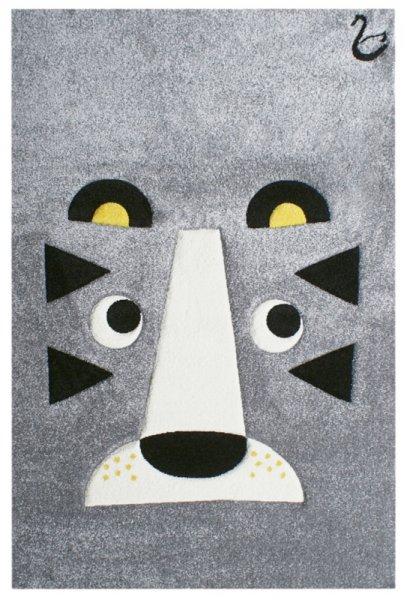 Kinderteppich Tiger Grau Schwarz Weiß