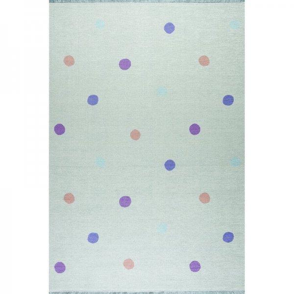 Kinderteppich Punkte Waschbar Mintgrün