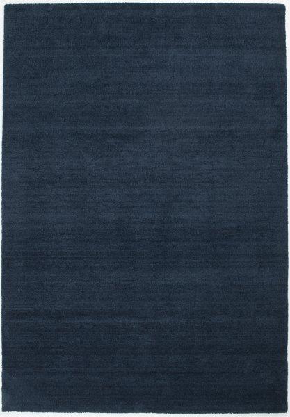 Hochflor Wollteppich RÜGEN Handgewebt Dunkel-Blau