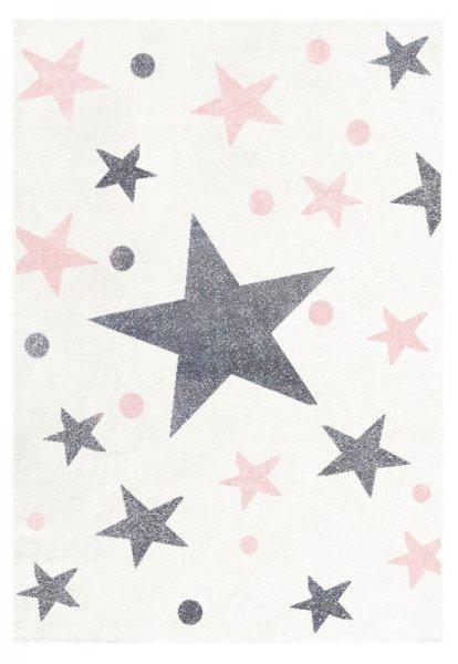 Kinderteppich LUNA Sterne Weiß Grau Pink