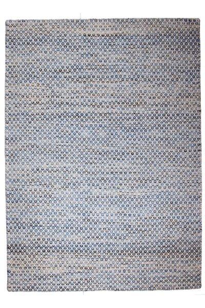 Wollteppich AALBORG Handgewebt Blau Weiß
