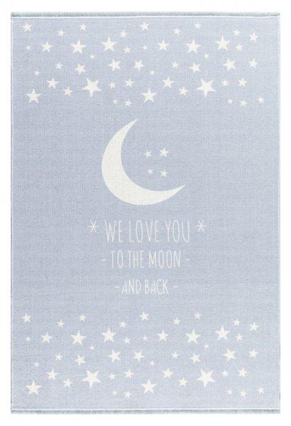 Kinderteppich Mond & Sterne Waschbar Hellblau
