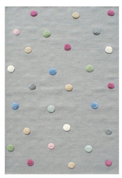 Kinder-Wollteppich Punkte Grau Bunt