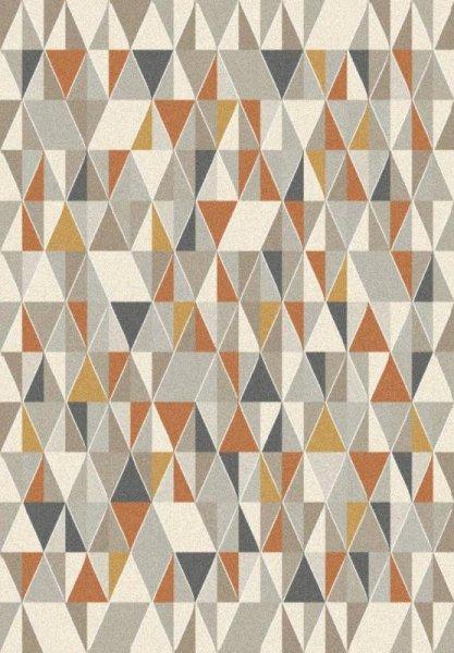 Designer Teppich Rauten Dreiecke Grau Braun Weiß