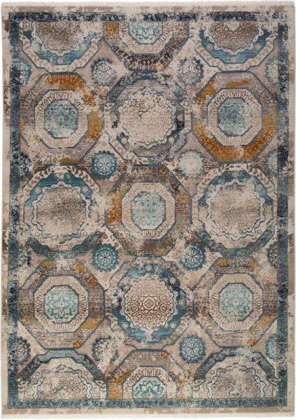 Teppich Retro Muster Beige Blau