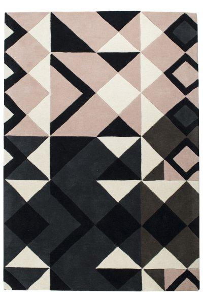 Hochflor Design Wollteppich Handgetuftet Pastell-Rosa Grau Weiß
