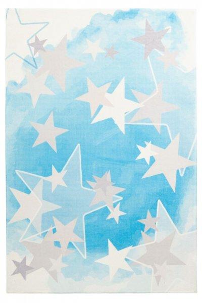 Kinderteppich blau mit Sterne Kinderzimmer Teppich